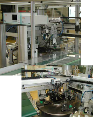 Assembly and leak test station for bearing cases
